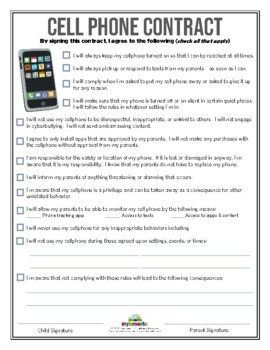 graphic regarding Printable Cell Phone Contract for Tweens titled Mobile Mobile phone Deal Worksheets Schooling Components TpT