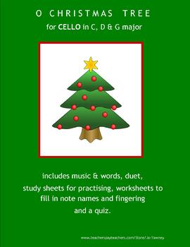 CELLO!! ... O CHRISTMAS TREE for young cello players in C, D & G major