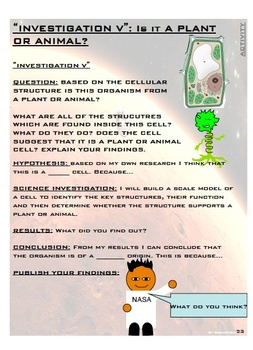 """CELLS AND LIFE PROCESSES """"MISSION TO MARS"""" PROJECT PACKET"""