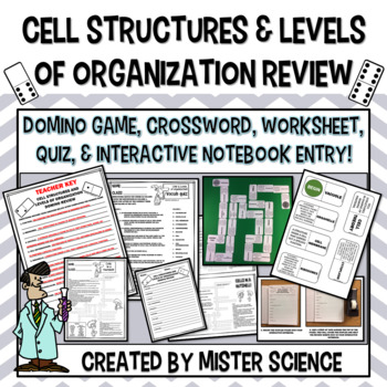 CELLS & LEVELS OF ORGANIZATION DOMINOES CROSSWORD INB PAGES TX TEKS 7.12C D F
