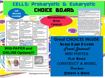 CELLS-Prokaryotic & Eukaryotic CHOICE BOARD w Amazing Freebies!