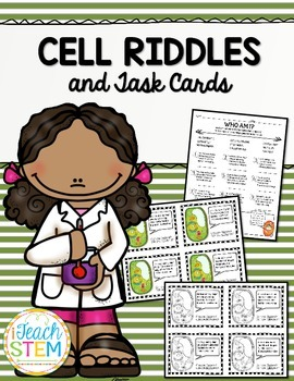 STEM Cells Riddles and Task Cards - Functions of Cell Organelles