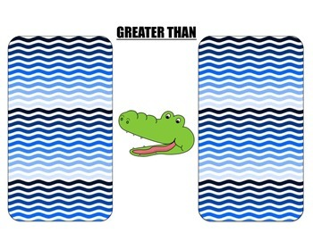 CENTER ALLIGATOR LESS THAN GREATER THAN FISH