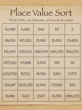 CENTER Work; Place Value Sort