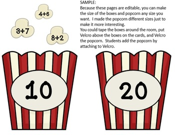 Editable POPCORN CENTERS (any subject)