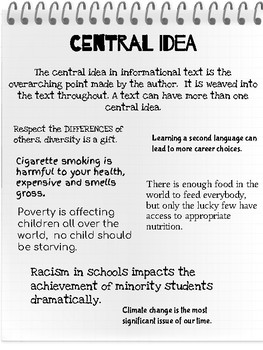 CENTRAL IDEA and SUMMARIZING - Informational Reading Toolkit - RI.6.2