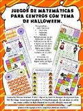 JUEGOS MATEMATICOS DE HALLOWEEN. NO PREP. Spanish Math Center Games.