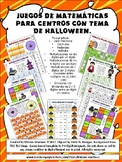 JUEGOS MATEMATICOS DE HALLOWEEN. NO PREP. Spanish Math Center Games.
