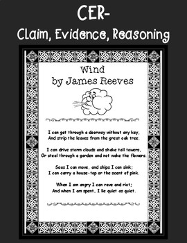 """CER: Claim Evidence Reasoning Organizer for poem """"The Wind"""" by James Reeves"""