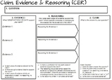 CER Graphic Organizer - Claim Evidence Reasoning Organizer - With Checklist