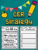 CER Strategy Claim -- Evidence -- Reasoning Graphic Organizer with Anchor Chart