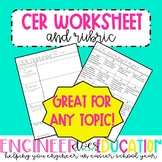 CER Worksheet: Claim, Evidence, Reasoning with Rubric