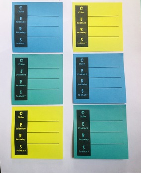 CERS Graphic Organizer for Sticky Notes