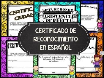 CERTIFICATE AWARDS IN SPANISH