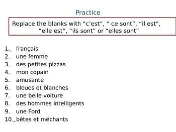 C'EST vs. IL/ELLE EST: Power Point Lesson