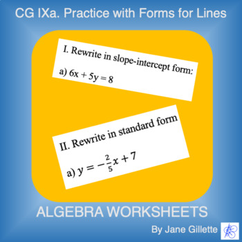 CG IXa: Practice With Forms for Lines