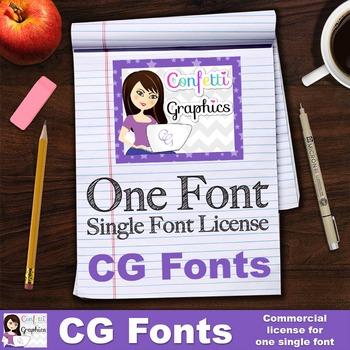 CG One Single Font License - Confetti Graphics One Single Font License