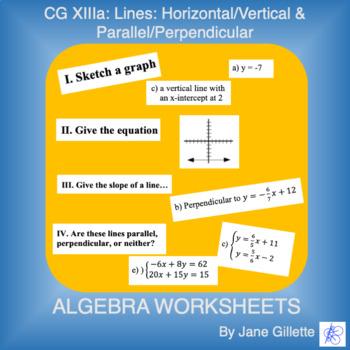 CG XIIIa: Lines: Horizontal/Vertical & Parallel/Perpendicular