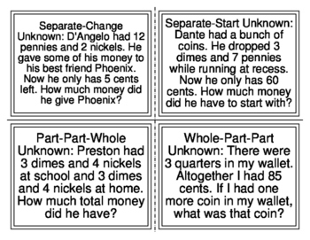 CGI-2nd Grade Counting Coins Word Problems (Cognitively Guided Instruction)