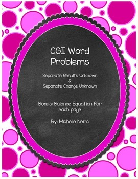 CGI- Differentiated Word Problems and Balance Equation problems