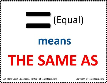 """CGI Math Poster that Says  """"Equal means the same as"""""""