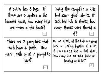 CGI Math Task Cards - HALLOWEEN Multiplication - Fast Facts - Factors 1-12