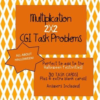 CGI Math Task Cards - HALLOWEEN Multiplication 2 X 2