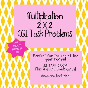 CGI Math Task Cards -  SUMMER Multiplication 2 X 2