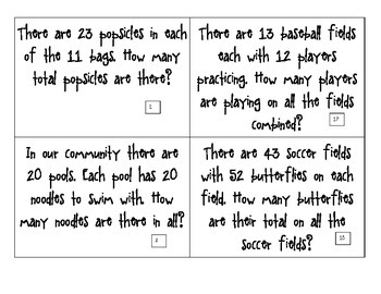 CGI Math Task Cards -  SUMMER Multiplication 2 X 2