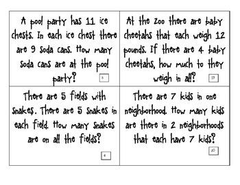 CGI Math Task Cards -  SUMMER Multiplication Fast Facts - Factors 1 - 12