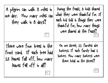 CGI Math Task Cards - THANKSGIVING Multiplication - Fast Facts