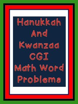 CGI Math Word Problems--Kwanzaa and Hanukkah Themed