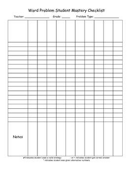 CGI Word Problem Mastery Checklist
