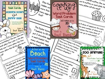 CGI Word Problem Task Card Bundle -  Numbers to 20