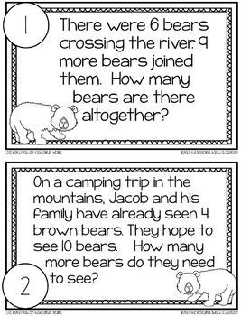 CGI Word Problem Task Cards: Bears