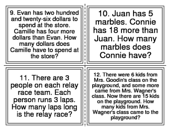 CGI Word Problems Level 2 Task Cards (28 Cards)