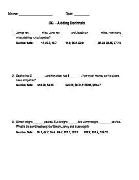 CGI questions - Adding & Subtracting decimals