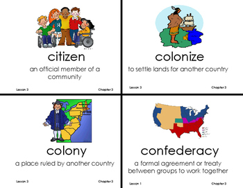 Chapter 3 Communities Build a Nation Vocab Cards Grade 3