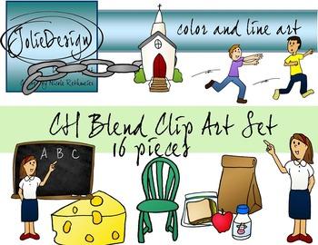 CH Blend Phonics Clip Art Set - Color and Line Art 16 pc set