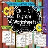 CH-CK Consonant Digraph Worksheets