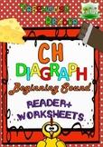 CH DIAGRAPH BEGINNING SOUND Reader & WS & Flashcards: Char
