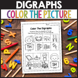 CH Digraph Worksheets, SH Digraph Worksheets - Color The Digraph
