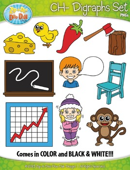 CH- Digraphs Words Clipart Set — Includes 20 Graphics!
