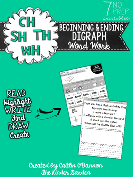 CH, SH, TH, WH Digraph Word Work Printables