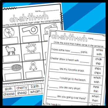 CH, SH, TH, WH Digraphs Worksheets: Sorts, Cloze, and More!