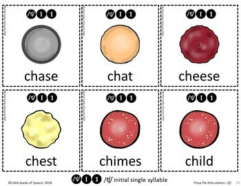 CH SOUND Pizza Articulation Cards for Single & Multisyllabic Words & Sentences