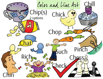 CH Short Vowel Phonics Clipart Set - Color and Line Art 24 pc set