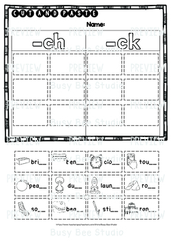 CH and CK Sorts | Cut and Paste Worksheets | Freebie