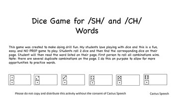 CH and SH Dice Game