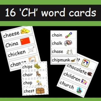 CH word cards- 16 words that begin with 'ch'
